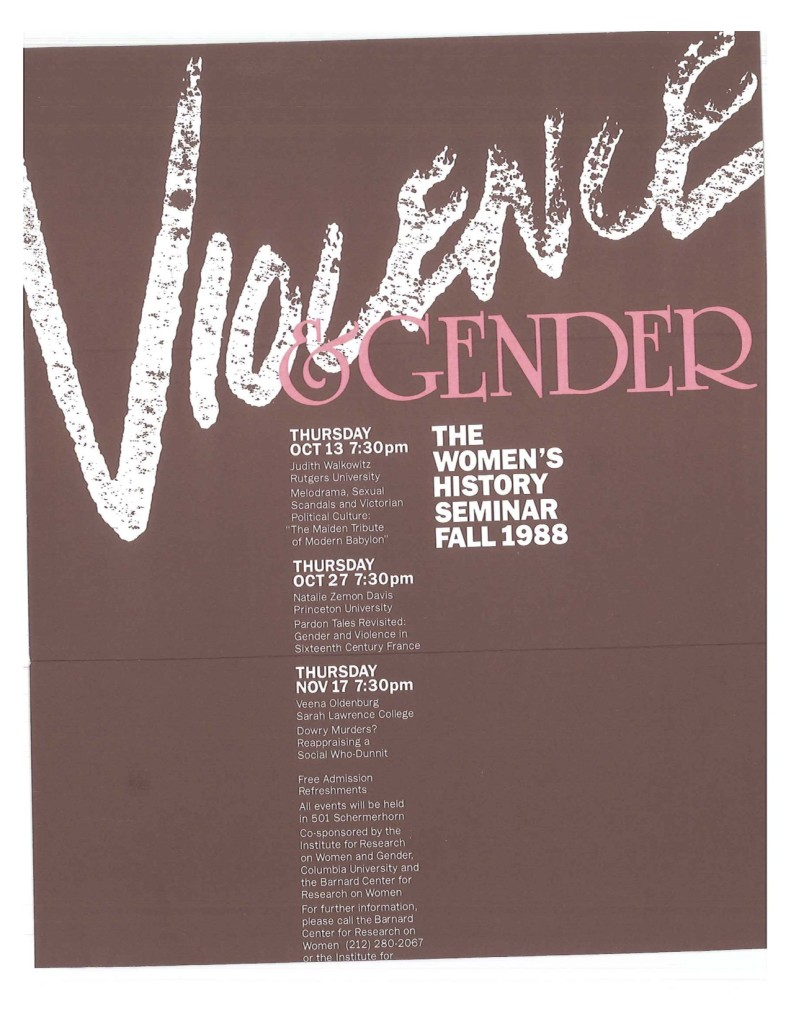 1988 Fall Women's History Series Violence and Gender