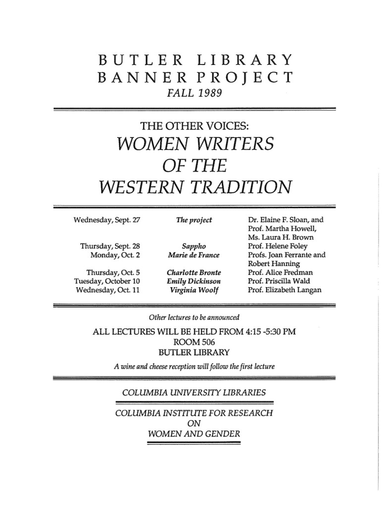 1989 Banner Project Lecture Schedule