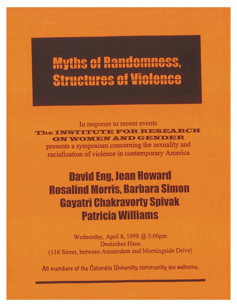 1998 Myths of Randomness, Structures of Violence