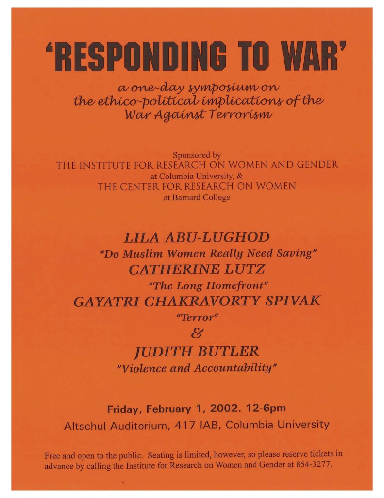 2002 Responding to War Abu-Lughood, Spivak, Butler, Lutz