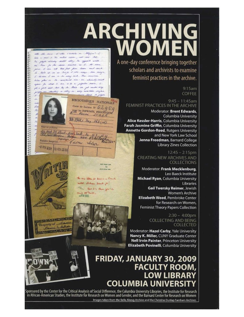 2009 Archiving Women Conference