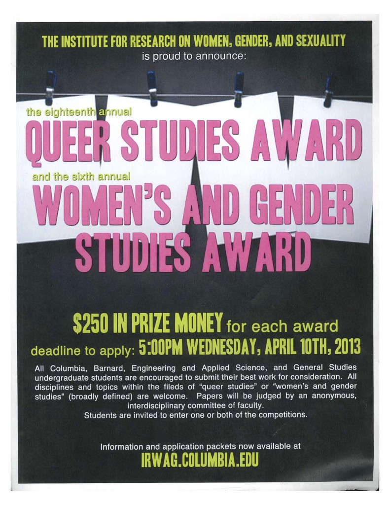 2012-2013 Queer and Women's Studies Award Application